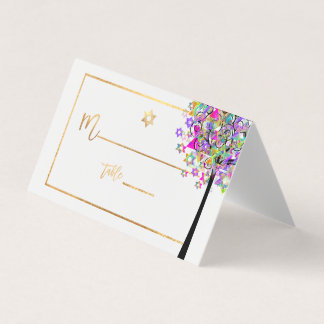 PixDezines Tree of LIfe+Pink+Green+Faux Gold プレイスカード