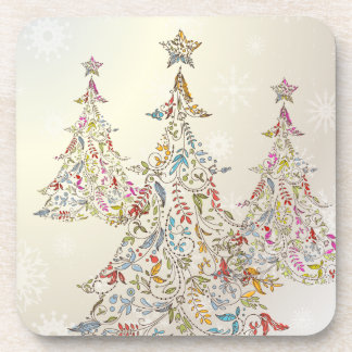 PixDezines Whimpsyのクリスマスツリー+雪片 コースター