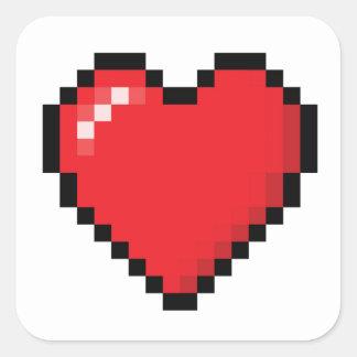 Pixelatedの赤いビデオゲームのハート スクエアシール