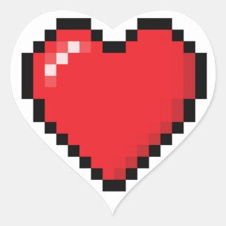 Pixelatedの赤いビデオゲームのハート ハートシール