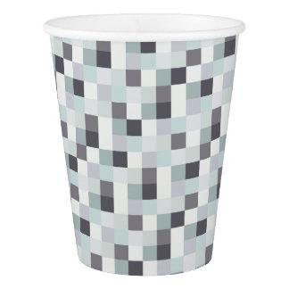 Pixelated白いおよび灰色のパターン 紙コップ