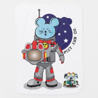 Pixyおよびcoのペットロボットを持つかわいいマウスの宇宙飛行士 ベビー ブランケット