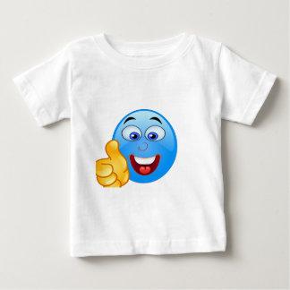 pizap.comは青いemojiの顔の上で手早くめくります ベビーTシャツ