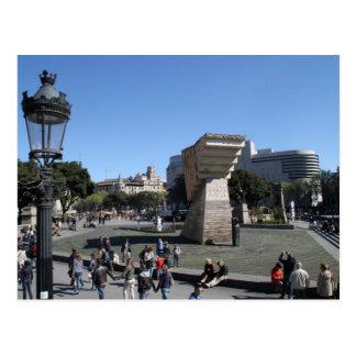 Plaça Catalunya、バルセロナ ポストカード