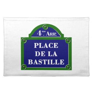 Place de la Bastilleのパリの道路標識 ランチョンマット