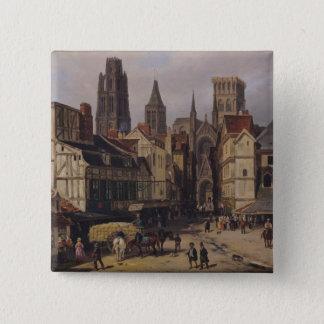 Place de la Haute Vieille旅行、ルーアン1824年 5.1cm 正方形バッジ
