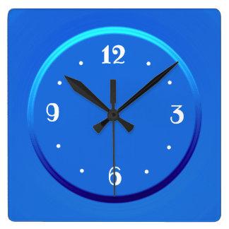 Plain blue with White Numerals > Kitchen Clocks. スクエア壁時計