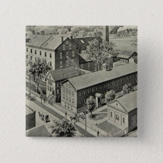 Plainvilleコネチカットのイラストレーション 5.1cm 正方形バッジ