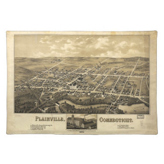 Plainvilleコネチカット(1878年)の見通しの地図 ランチョンマット