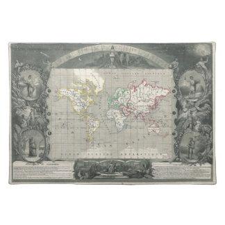 Planisphereの世界の1847年の勝利者のLevasseurの地図 ランチョンマット