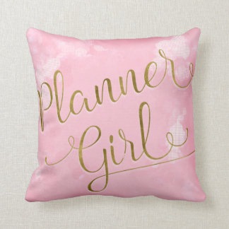 Planner Girl Pink and Gold クッション