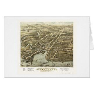 PlattsburghのNYのパノラマ式の地図- 1877年 カード