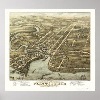 PlattsburghのNYのパノラマ式の地図- 1877年 ポスター