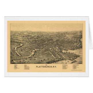PlattsburghのNYのパノラマ式の地図- 1899年 カード