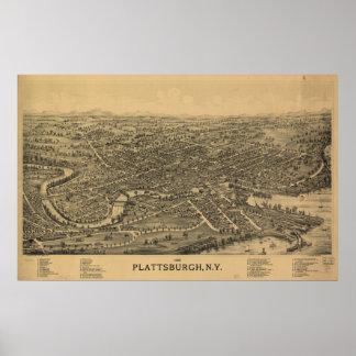 Plattsburghニューヨーク1899の旧式なパノラマ式の地図 ポスター