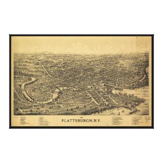 Plattsburghニューヨーク(1899年)の空気の地図 キャンバスプリント