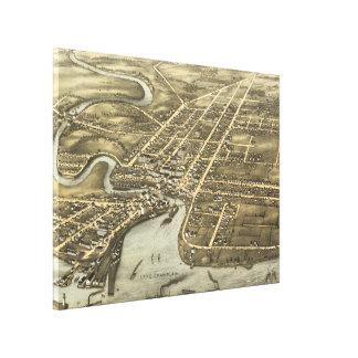 Plattsburgh NY (1877年)のヴィンテージの絵解き地図 キャンバスプリント