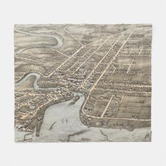 Plattsburgh NY (1877年)のヴィンテージの絵解き地図 フリースブランケット