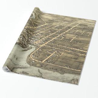 Plattsburgh NY (1877年)のヴィンテージの絵解き地図 ラッピングペーパー
