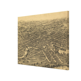Plattsburgh NY (1899年)のヴィンテージの絵解き地図 キャンバスプリント