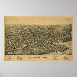 Plattsburgh NY 1899年: 古いプリント ポスター
