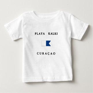 Playa Kalkiクラサオ島のアルファ飛び込みの旗 ベビーTシャツ