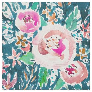 PLENITUDEの花のカラフルなBohoの水彩画 ファブリック