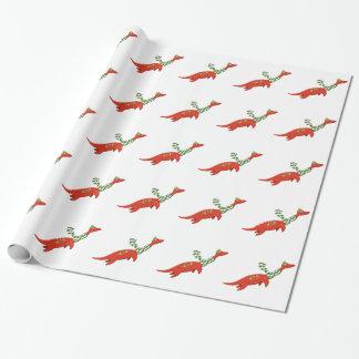 Plesiosaurはクリスマスの包装紙のために家に帰ります ラッピングペーパー