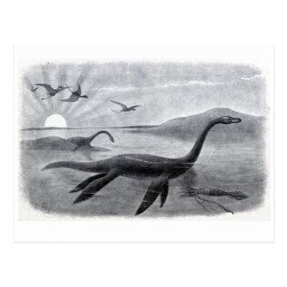 Plesiosaur、か長いネックの海のトカゲ ポストカード