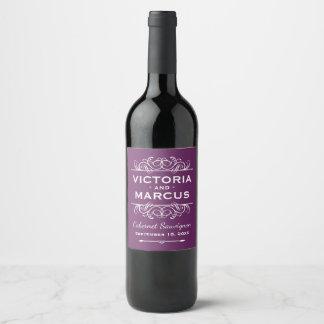 Plum Purple Wedding Wine Bottle Favor ワインラベル