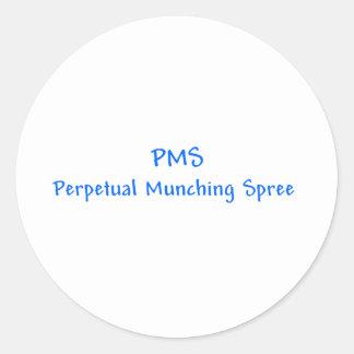 PMSの永遠の食べる酒宴のステッカー ラウンドシール