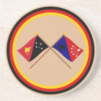 PNGおよび中央地域の交差させた旗 コースター