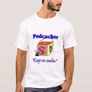Podcacherのポッドキャスト Tシャツ