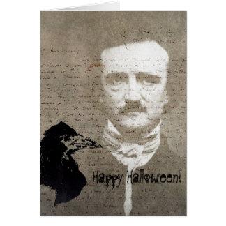 Poeおよびワタリガラスのグランジなデジタル芸術、ハロウィン カード