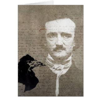 Poeおよびワタリガラスのグランジなデジタル芸術、誕生日 カード