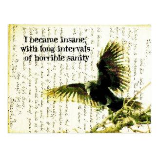 Poeの引用文およびHandwrittingのワタリガラス ポストカード