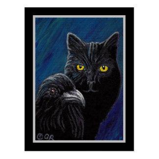 Poeの猫及びワタリガラスの郵便はがき ポストカード