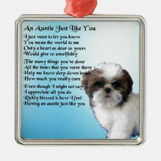 Poem -シーズー(犬)のTzu犬のデザイン伯母さん メタルオーナメント