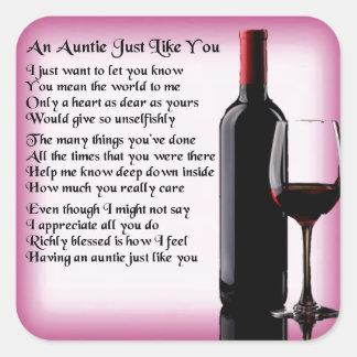 Poem -ワインのデザイン伯母さん スクエアシール
