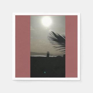 Poettoのビーチの日没 スタンダードカクテルナプキン