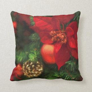 Poinsettia Beauty Throw Pillow クッション