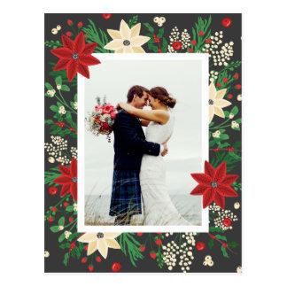 Poinsettia & Mistletoe - Christmas Wedding Photo ポストカード