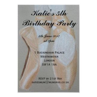 Pointeのバレエシューズのパーティの招待状 8.9 X 12.7 インビテーションカード