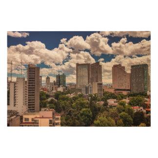 Polancoメキシコシティのホテルからのスカイライン ウッドウォールアート