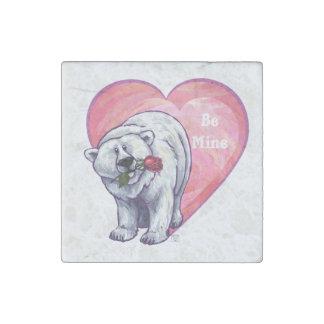 Polar Bear Valentine's Day ストーンマグネット