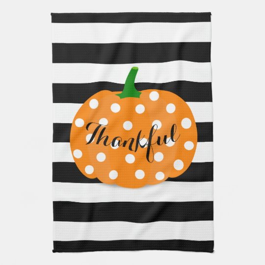 Polka Dot Pumpkin Thanksgiving Kitchen Towel キッチンタオル