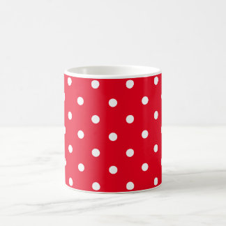 Polka Dots in Red and White コーヒーマグカップ