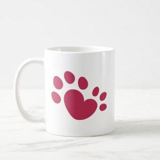 Polydactyl猫の足のプリントのハート コーヒーマグカップ