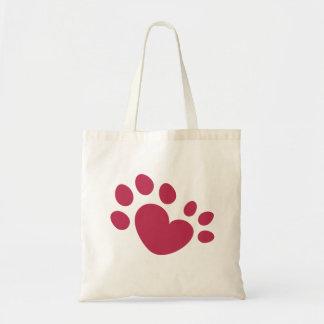 Polydactyl猫の足のプリントのハート トートバッグ