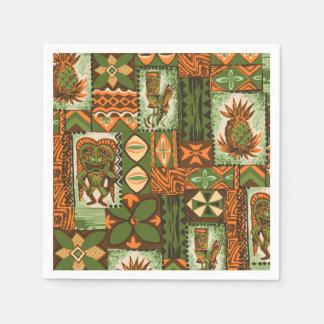 Pomaika'i Tikiのハワイのヴィンテージの樹皮布 スタンダードカクテルナプキン